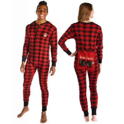 Onesie Plaid Bear Cheeks