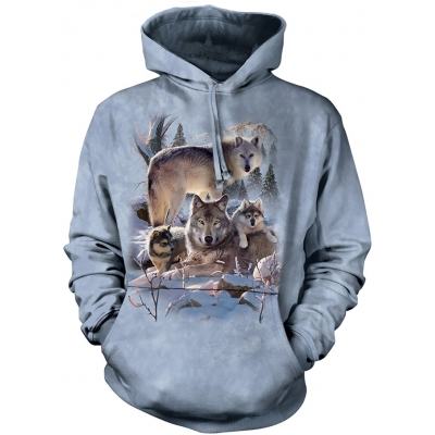 Wolf Family Mountain Dieren Hoodie