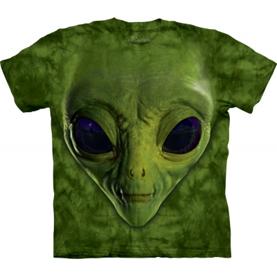 Green Alien Face Space Kindershirt