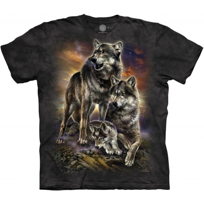 Wolf Family Sunrise Kindershirt